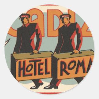 Vintage Travel Bellhops Hotel Roma, Cadiz, Spain Classic Round Sticker
