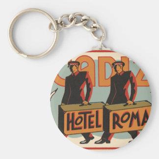 Vintage Travel Bellhops Hotel Roma, Cadiz, Spain Keychain