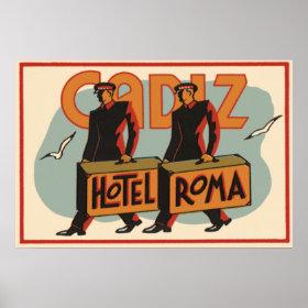 Vintage Travel Bellhops Hotel Roma, Cadiz, Spain Print