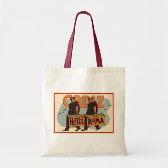 Vintage Travel Bellhops Hotel Roma, Cadiz, Spain Tote Bag