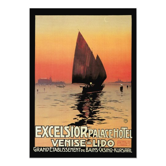 Vintage Travel, Boats at Excelsior Palace Venice Card