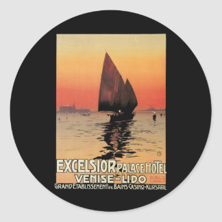 Vintage Travel, Boats at Excelsior Palace Venice Classic Round Sticker