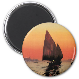 Vintage Travel, Boats at Excelsior Palace Venice 2 Inch Round Magnet