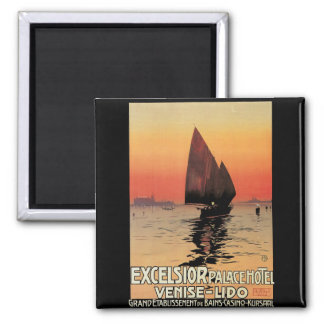 Vintage Travel, Boats at Excelsior Palace Venice 2 Inch Square Magnet