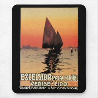 Vintage Travel Boats at Excelsior Palace Venice Mousepads