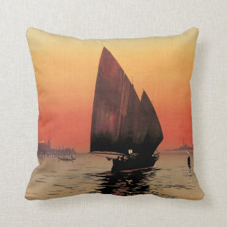 Vintage Travel, Boats at Excelsior Palace Venice Throw Pillow