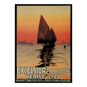 Vintage Travel, Boats at Excelsior Palace Venice Poster