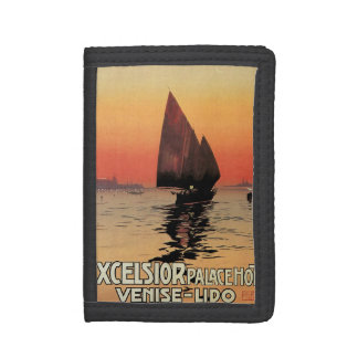 Vintage Travel, Boats at Excelsior Palace Venice Trifold Wallet