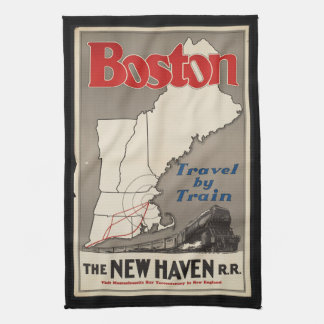 Vintage Travel Boston New Haven Railroad Train Kitchen Towel