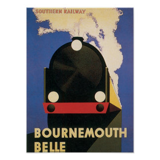 Vintage Travel Bournemouth Belle Train Poster