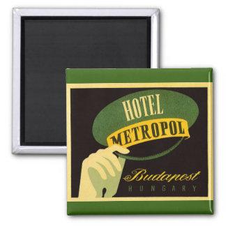 Vintage Travel Budapest Hungary Bellhop Hat 2 Inch Square Magnet