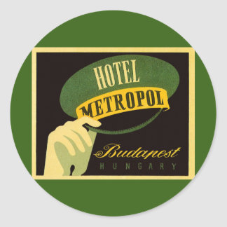 Vintage Travel Budapest Hungary Bellhop Hat Classic Round Sticker
