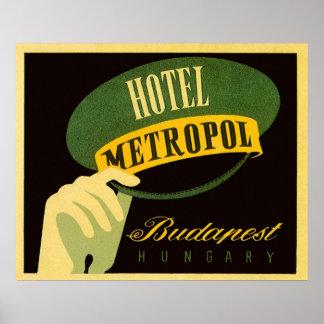 Vintage Travel Budapest Hungary Bellhop Hat Poster