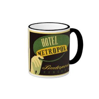 Vintage Travel Budapest Hungary Bellhop Hat Ringer Mug