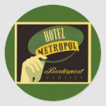 Vintage Travel Budapest Hungary Bellhop Hat Classic Round Sticker