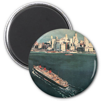 Vintage Travel by Cruise Ship to New York City 2 Inch Round Magnet