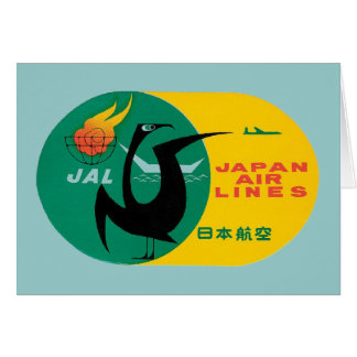 Vintage Travel by Plane Japan Label Art Card