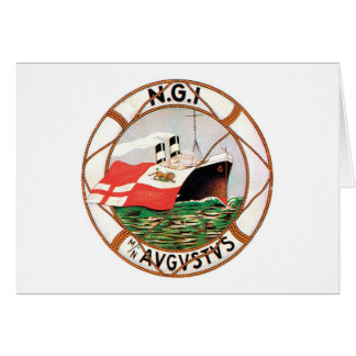 Vintage Travel by Ship Label Art Stationery Note Card