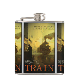 Vintage Travel By Train Liquid Courage Flask