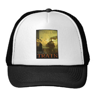 Vintage Travel By Train Mesh Hat