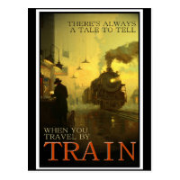 Vintage Travel By Train Postcard