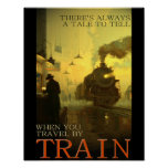 Vintage Travel By Train Poster