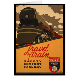 Vintage Travel by Train Poster Card
