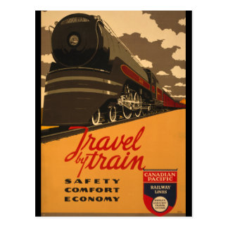 Vintage Travel by Train Poster Postcard