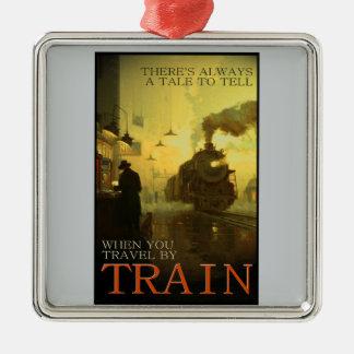 Vintage Travel By Train Premium Ornament Silver-Colored Square Ornament