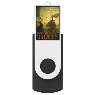 Vintage Travel By Train Swivel USB  Drives Swivel USB 3.0 Flash Drive