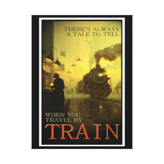 Vintage Travel By Train Wrapped Canvas Print