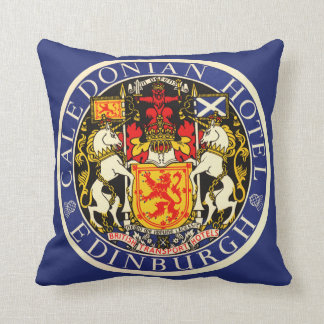Vintage Travel Caledonian Hotel Edinburgh Scotland Throw Pillow