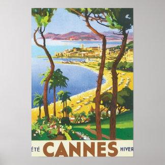 Vintage Travel Cannes Beach Scene Poster