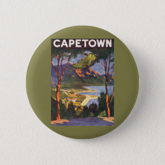 Vintage Travel, Cape Town, a City in South Africa Pinback Button