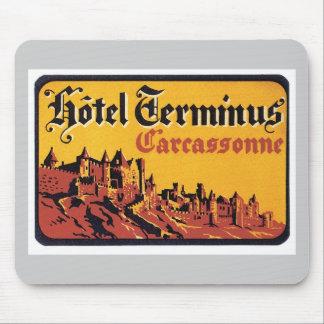Vintage Travel Carcassonne France Hotel Label Art Mouse Pad