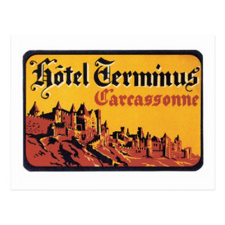 Vintage Travel Carcassonne France Hotel Label Art Postcard