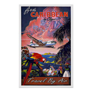 Vintage Travel Caribbean By Air Poster