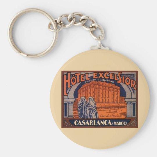 Vintage Travel, Casablanca in Morocco, Africa Keychain