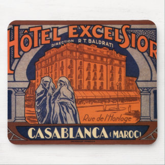 Vintage Travel, Casablanca in Morocco, Africa Mouse Pad