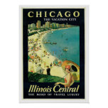 Vintage Travel Chicago Illinois Central Poster