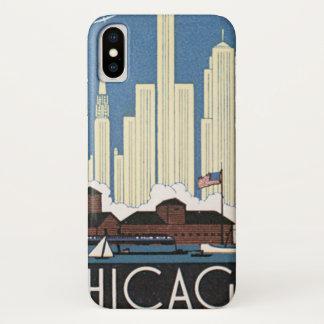 Vintage Travel Chicago Illinois Skyscraper Skyline iPhone X Case