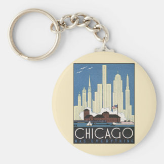 Vintage Travel Chicago Illinois Skyscraper Skyline Keychain