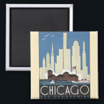 """Vintage Travel Chicago Illinois Skyscraper Skyline Magnet<br><div class=""""desc"""">Vintage illustration travel poster advertising from Chicago,  Illinois showing the city&#39;s skyline with tall buildings and the  harbor with boats.</div>"""