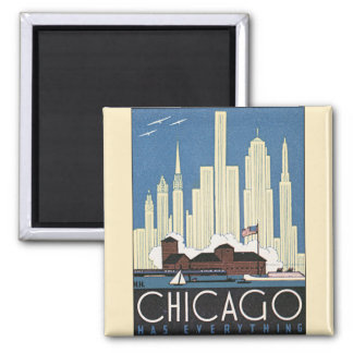 Vintage Travel Chicago Illinois Skyscraper Skyline Magnet