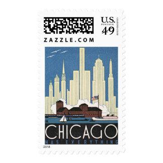 Vintage Travel Chicago Illinois Skyscraper Skyline Postage