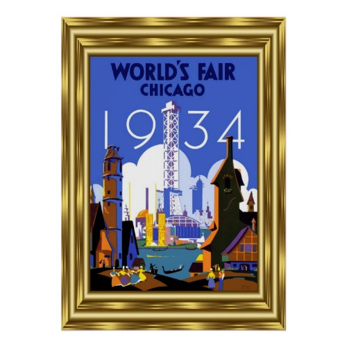 Vintage Travel Chicago World's Fair 1934 Gold