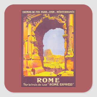 Vintage Travel, Coliseum, Rome Italy Italian Square Sticker