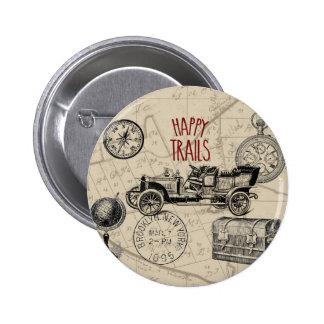 Vintage Travel Collage, Antique Car Road Trip 2 Inch Round Button