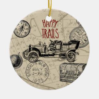 Vintage Travel Collage, Antique Car Road Trip Christmas Ornaments