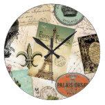Vintage Travel collage clock